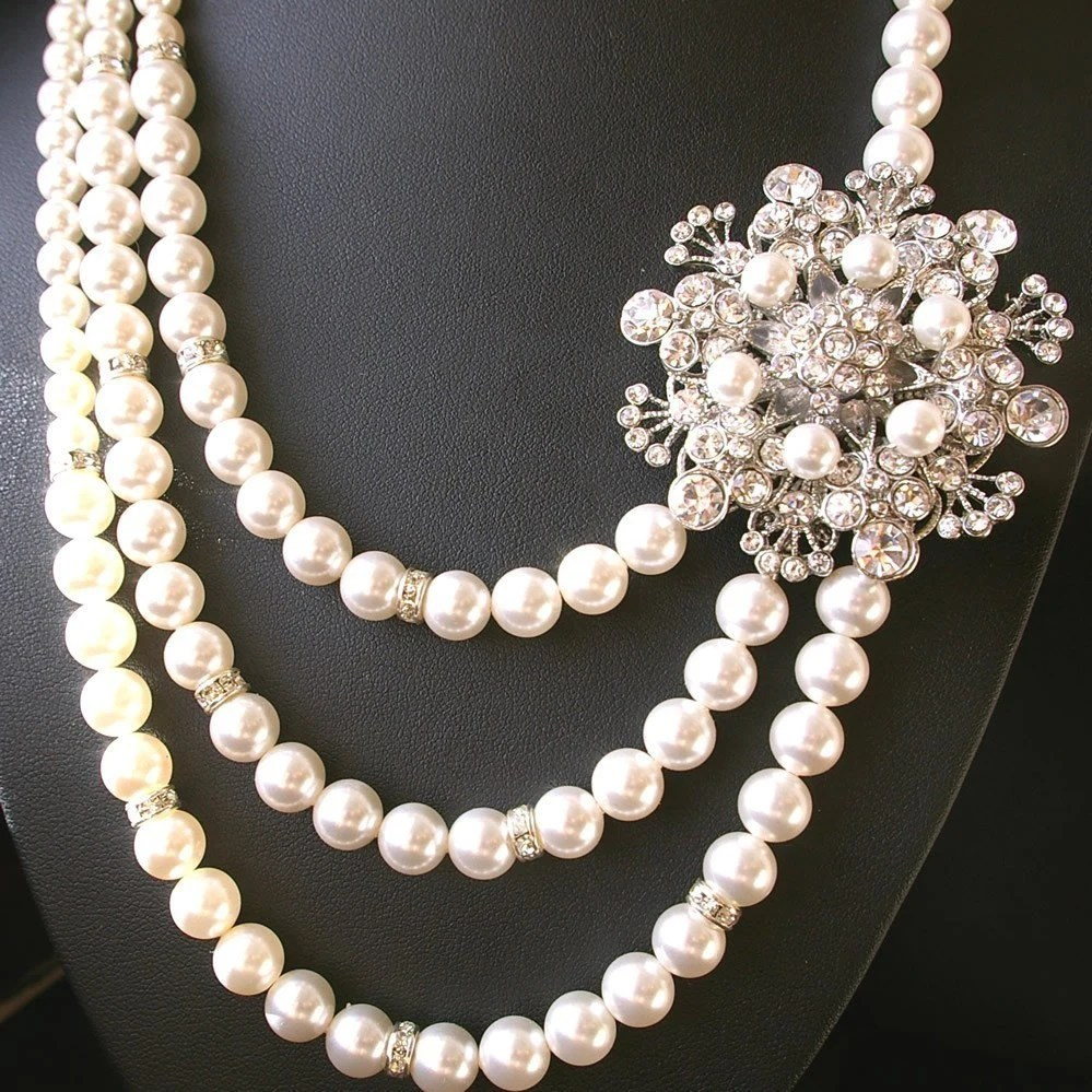 Bouquet, Victorian Triple Strand Ivory Pearl Bridal Necklace