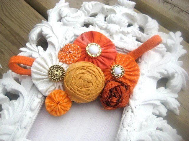 FALL HARVEST ROSETTE YO YO HEADBAND