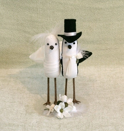 Wedding Cake Topper Bride and Groom Birds with birdcage veil and feather accents
