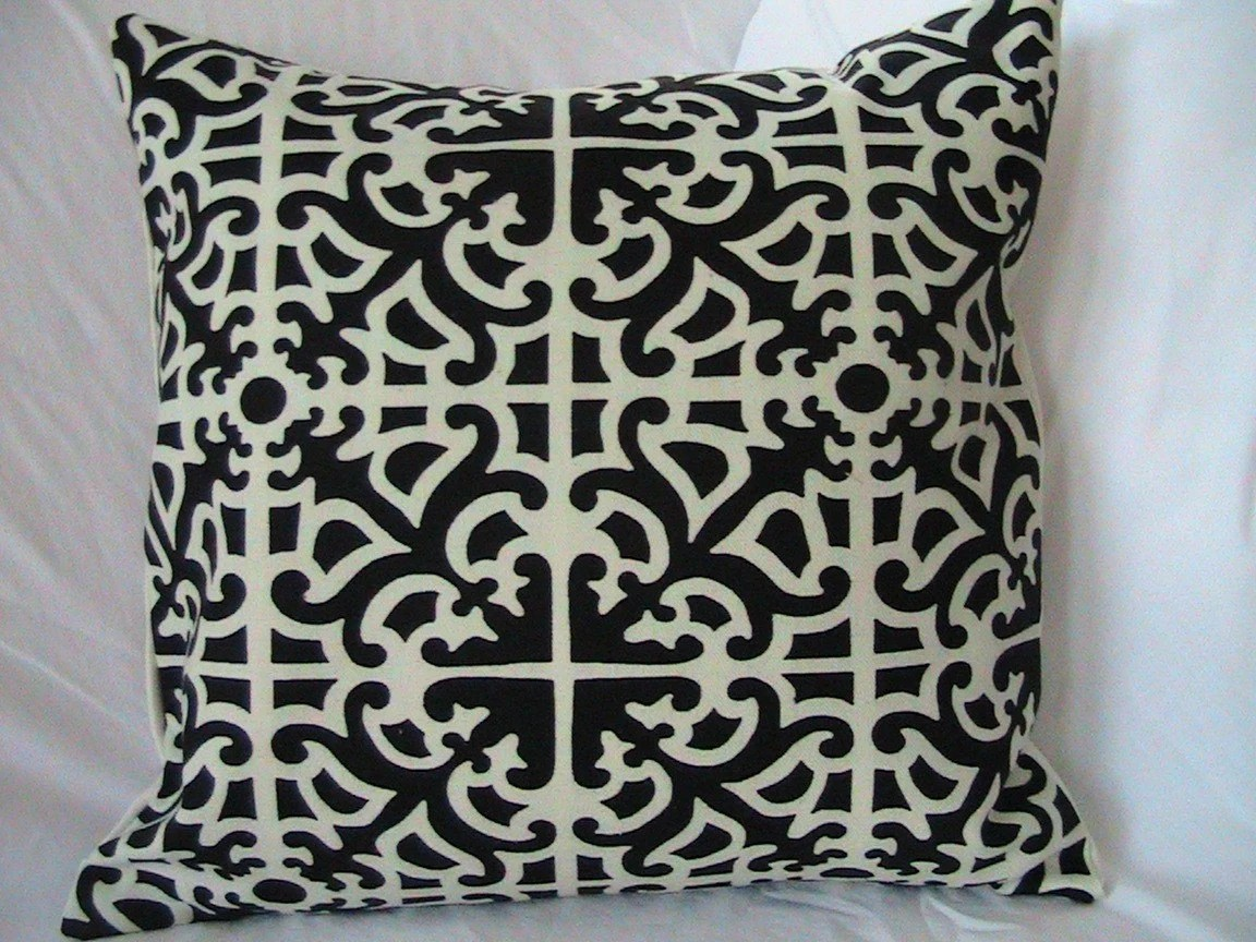 Decorative Designer Pillow Cover-18 inch-Black and Creme Fret Work