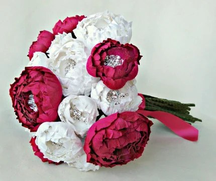 Off White and Fuchsia Silk Catala Bloom Bridal Bouquet