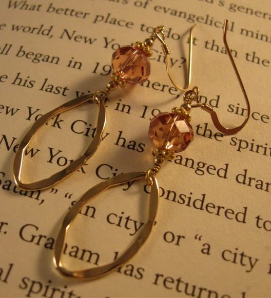 CZ and Gold Oval Hoop Earrings