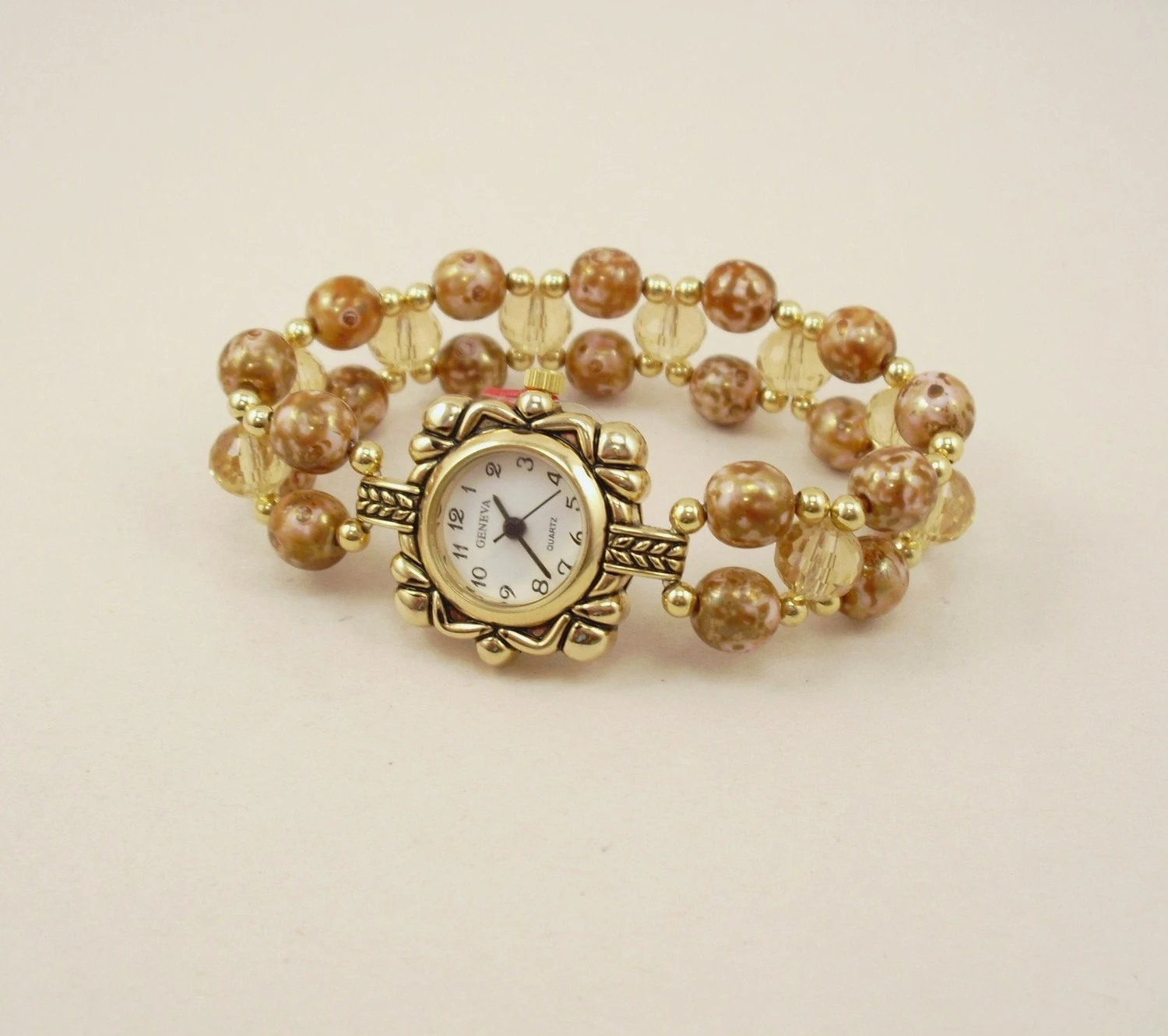 Gold Luster and Topaz Crystal Glass Stretchy Watch