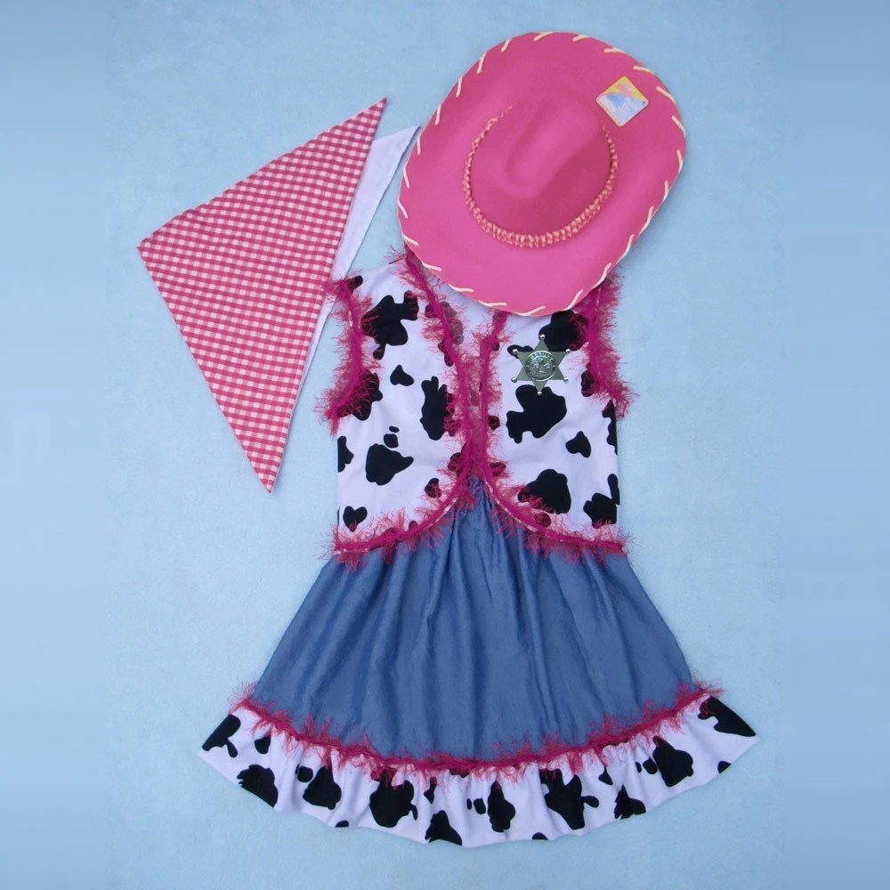 Wild west cowgirl costume - custom made for szs 3 to 10 - red, pink or purple
