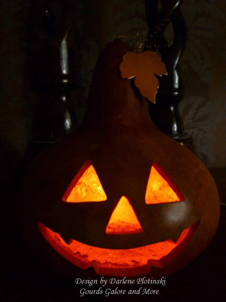 Jack-o-Lantern with Copper Leaf