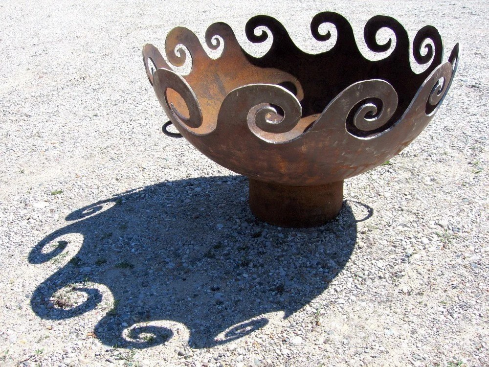 Waves O Fire Recycled Steel Firepit 37 Inch Diameter