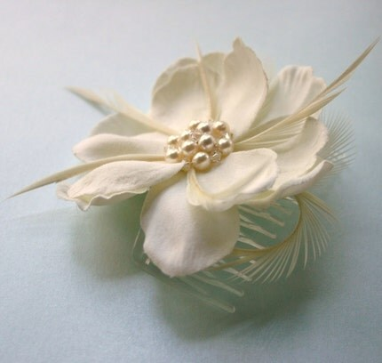 Silk, Pearl and Crystal Fascinator