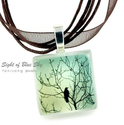 Sight of Blue Sky - ECO-friendly Glass Photo Necklace