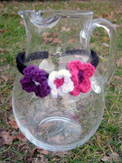 3 Flower Crochet Choker (black, pink, purple, white), $12 on ETSY