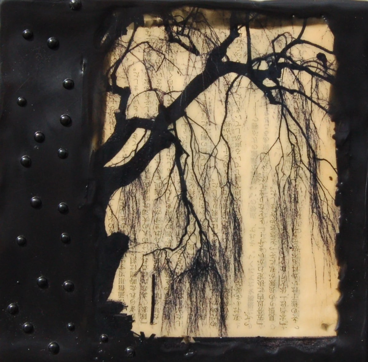 Black Willow, Original Encaustic Mixed Media Painting