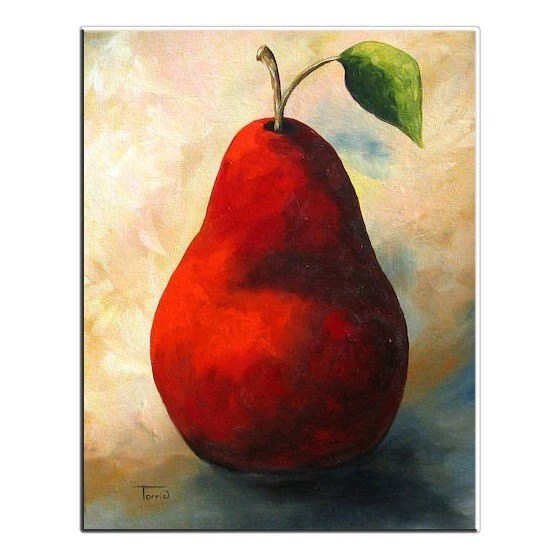 The Wine Red Pear  16 x 20 Original Painting on Gallery Wrapped Canvas by Torrie Smiley