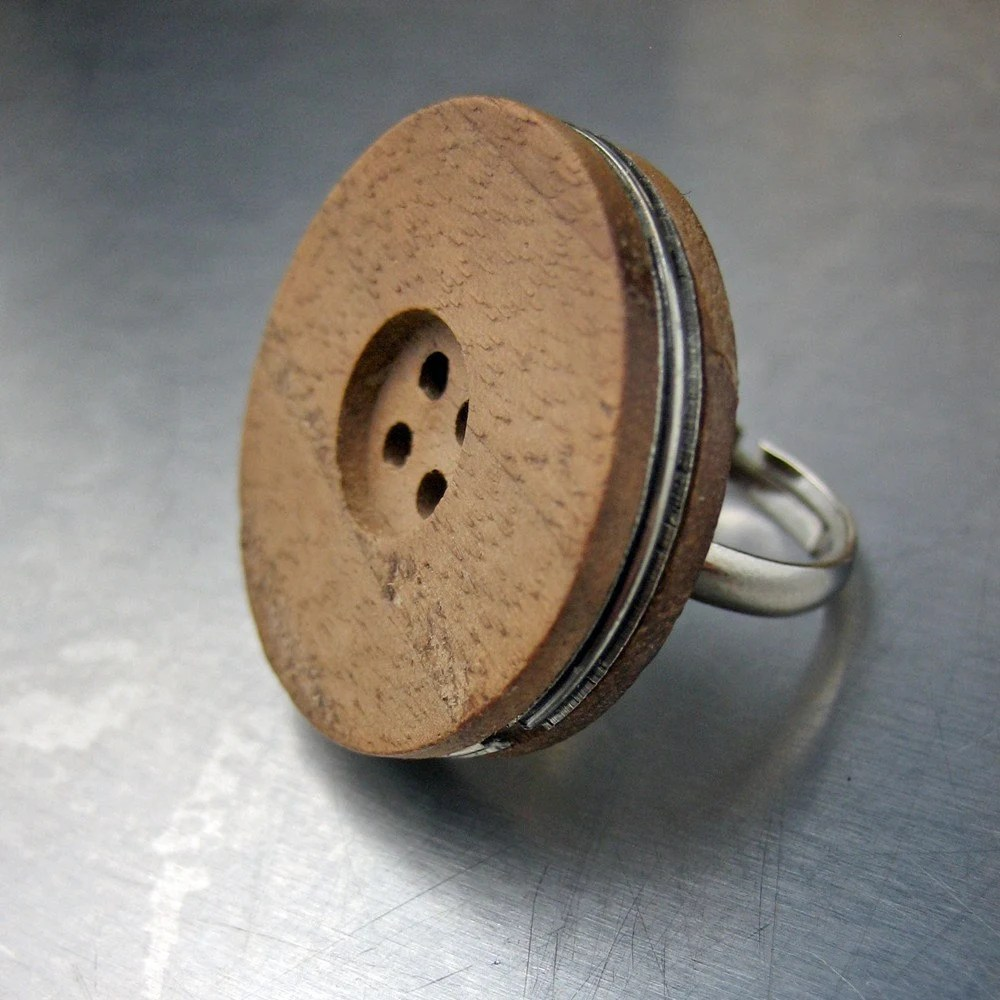 Wooden Button Ring