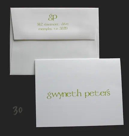 Set of 12 personalized stationery Gwyneth cards apple green with personalized envelopes