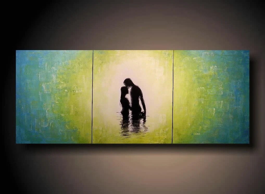 PAINTING JMJSTUDIO ORIGINAL 3 PIECE PAINTING 20 X 48 INCHES SILHOUETTE FREE SHIPPING