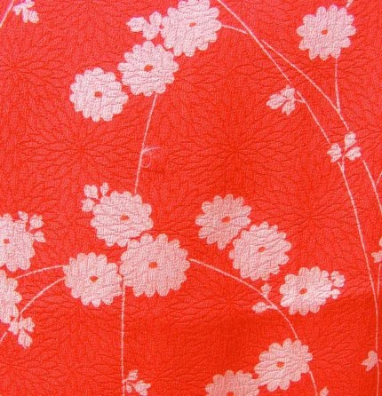 Red Chrysanthemum Kimono Panel