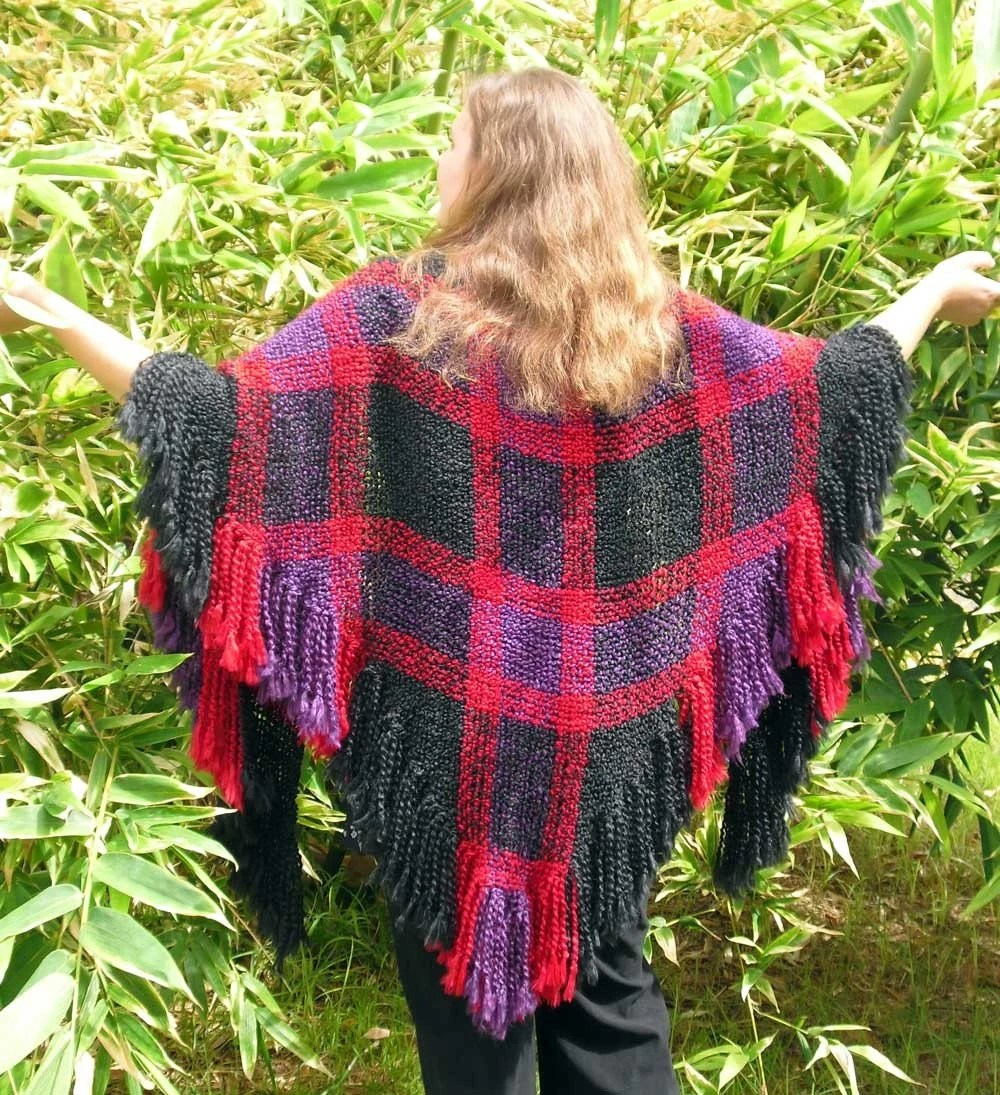 Midnight Solace - handwoven triloom shawl