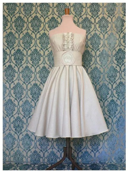 INGENUE simply pretty, pure linen and antique laces WEDDING DRESS or bridesmaid dress
