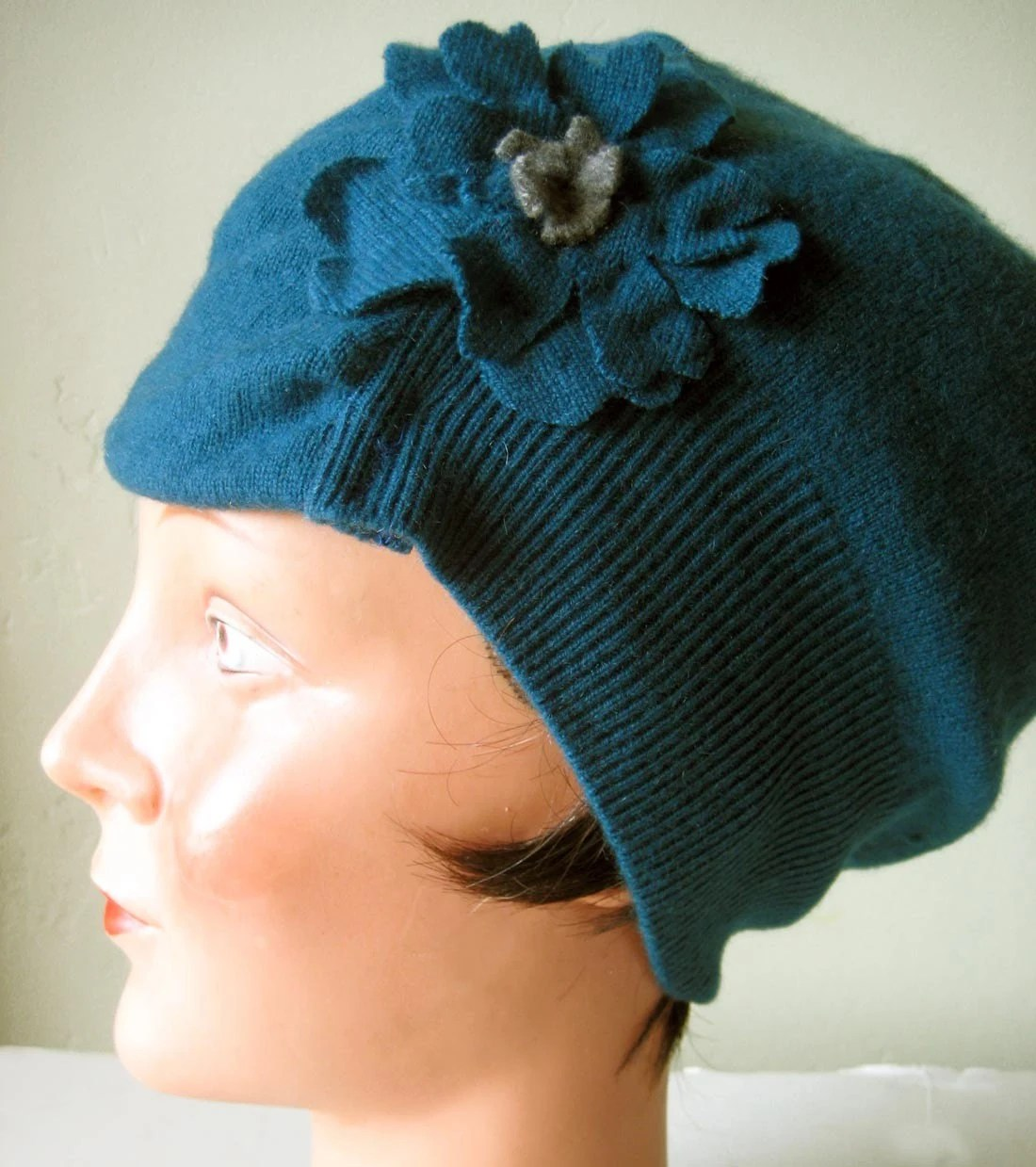 Angel soft Peacock Blue CASHMERE Hat Cloche OOAK embellished adult one size