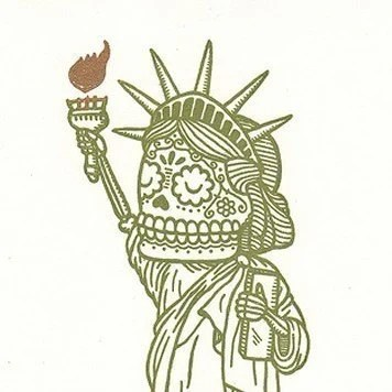 Lady Liberty Calavera Limited Edition Gocco Serigraph