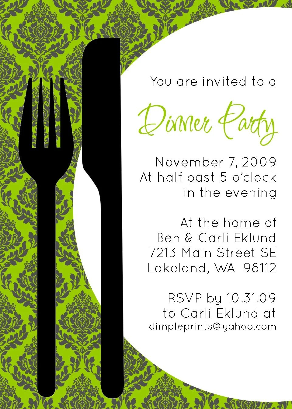 Custom You Print Digital Invitation..Dinner Invitation...Let's Eat
