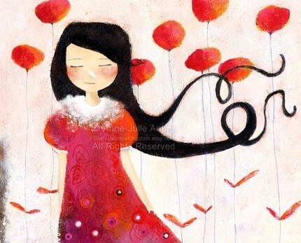 Girl at Poppies - open edition print at 15.00 USD only