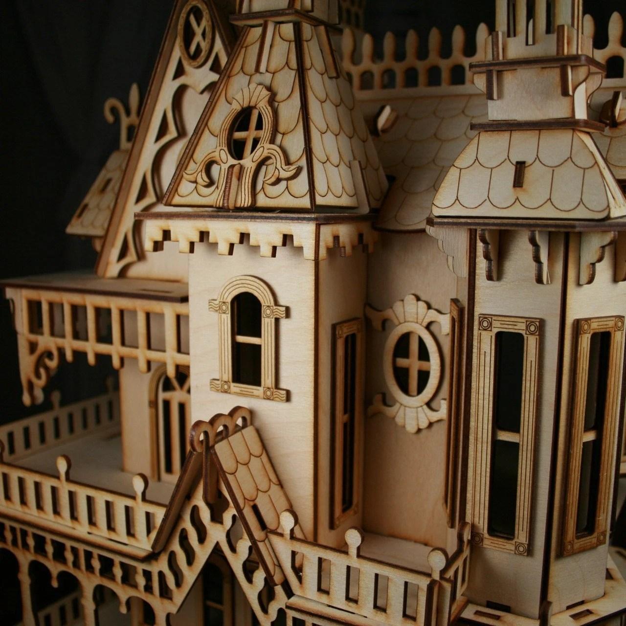 Victorian Doll House Birch plywood Laser Cut Kit 2