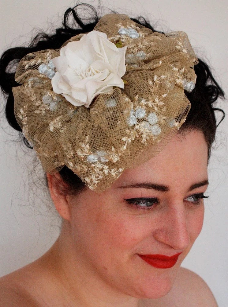 Forties style doll hat in embroidered tulle
