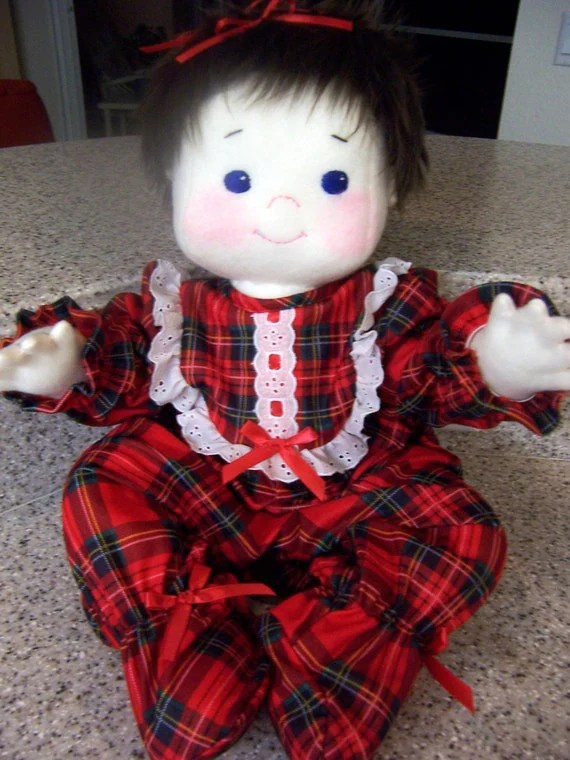 Lisa is a Soft Sculpture/Child Friendly/ Jointed/Baby Doll in Christmas Pajamas - 21 inches