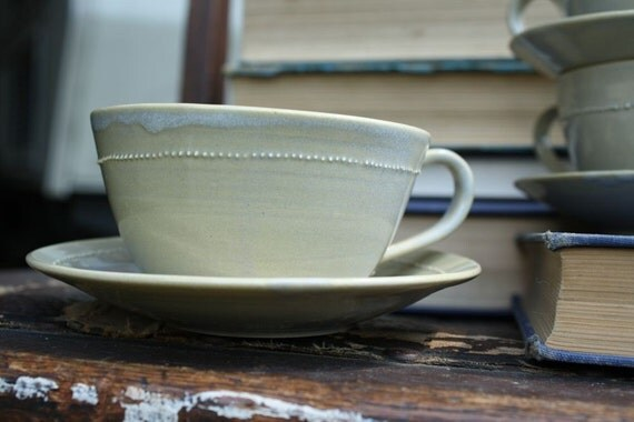 Pearled Teacup and Saucer in Cloud