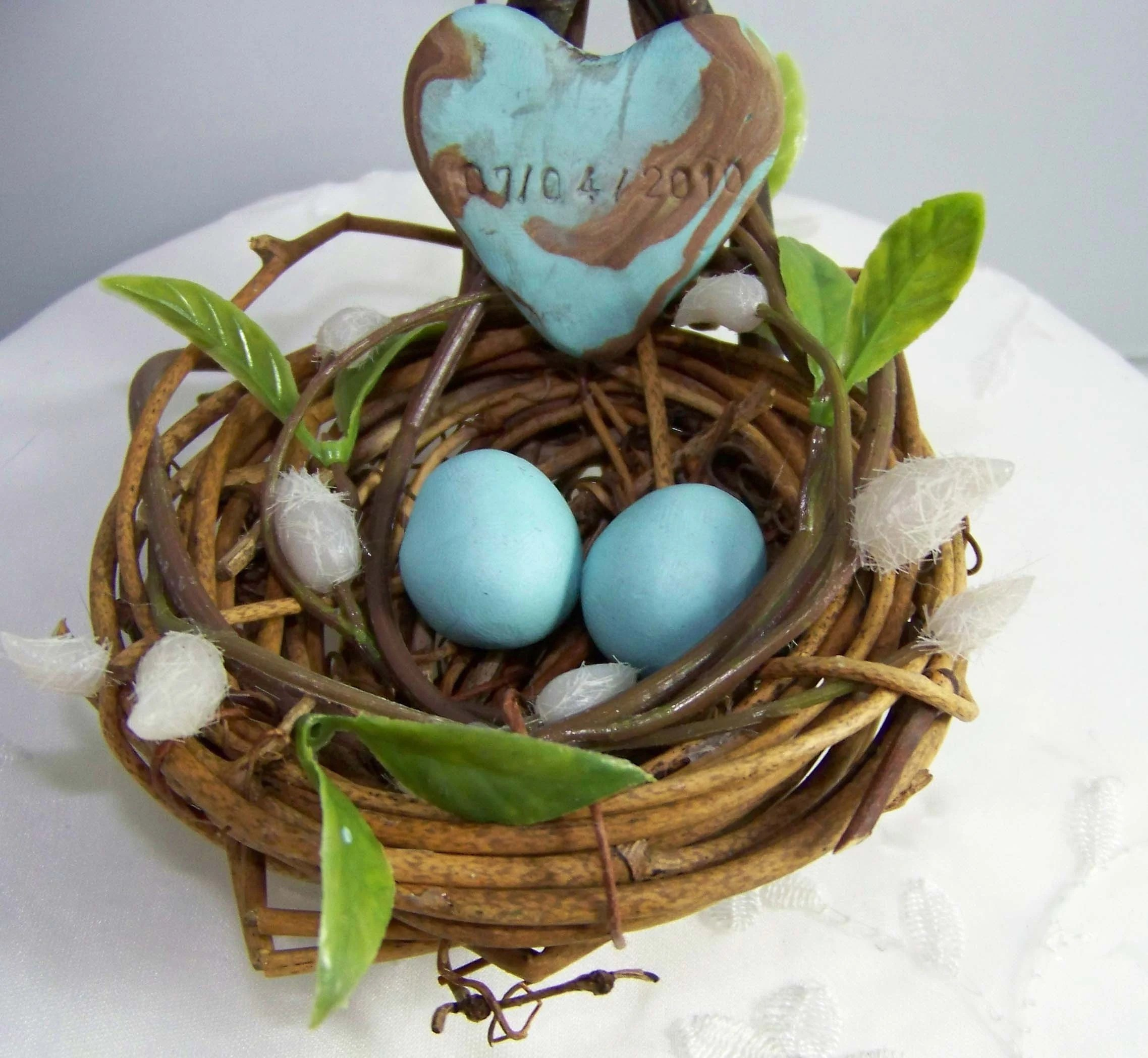 Love Bird Nest Willow Bearer Pillow Custom Made Engraved Heart with Date or Names