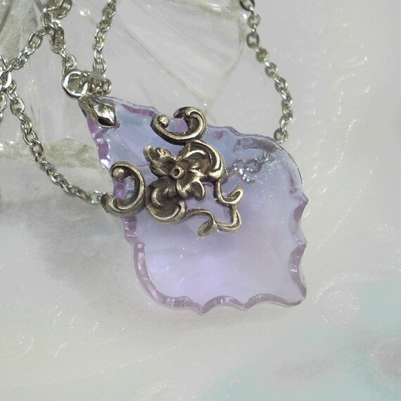 Lavender French Cut Prism in Silver Filigree Pendant