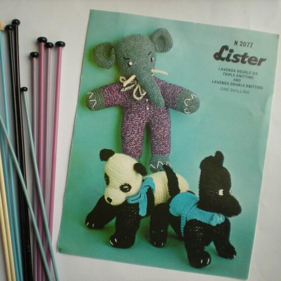 Vintage Knit Pattern 022 Dog Elephant Panda Toys from WonkyZebra