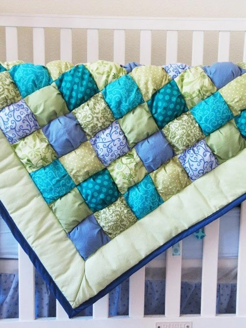 Sage Baby Puff Quilt MADE TO ORDER