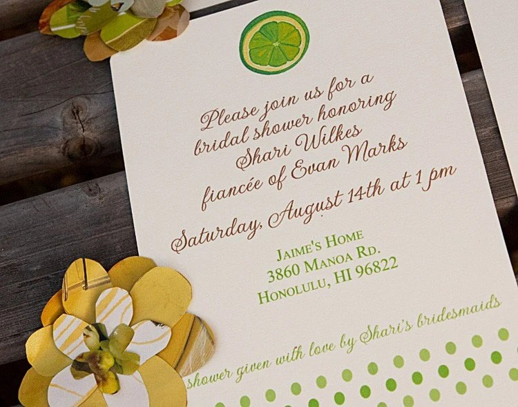 Printable Lime Bridal Shower Invitation
