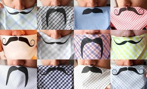 Mustache  Handkerchief - Lime Gingham