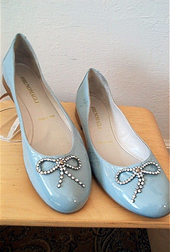 Blue Ballet Flats with Jewel Bow