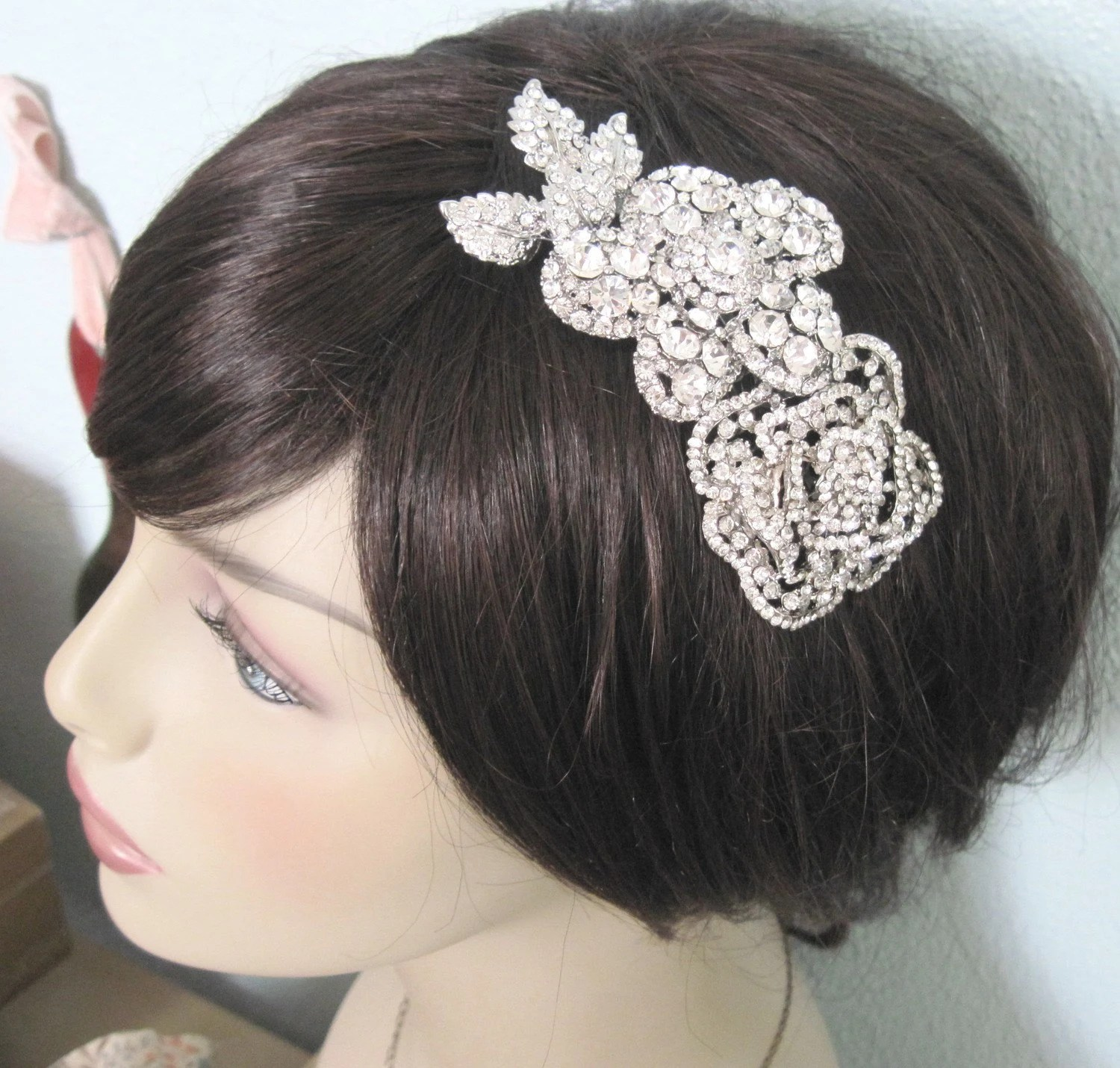 Rosalie- old hollywood crystal encrusted Floral comb-made to order