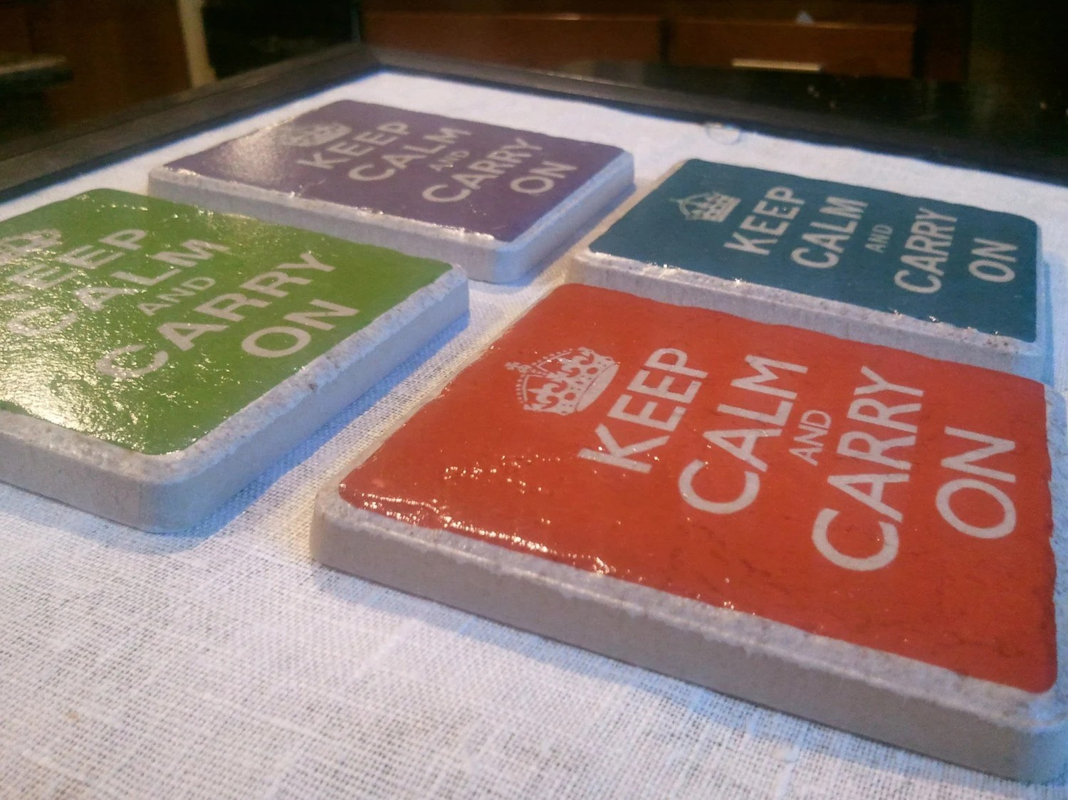Keep Calm and Carry On Tumbled Marble Coasters (set of 4)
