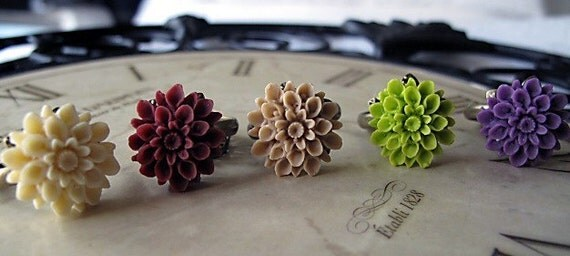 Bridesmaids Set Of Five You Choose Your Color Chrysanthemum  Ring's Ships Out In 48 Hours