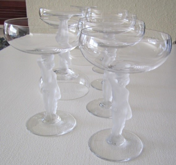 Currently Featured in Treasury Vintage FRANCE CRYSTAL BAYEL BACCHUS Clear Champagne Saucer or Tall Sherbet Stemware Designed with Detailed Frosted Nude Stems with Grape and Leaf Detail Made in France Set of Eight Perfect Condition