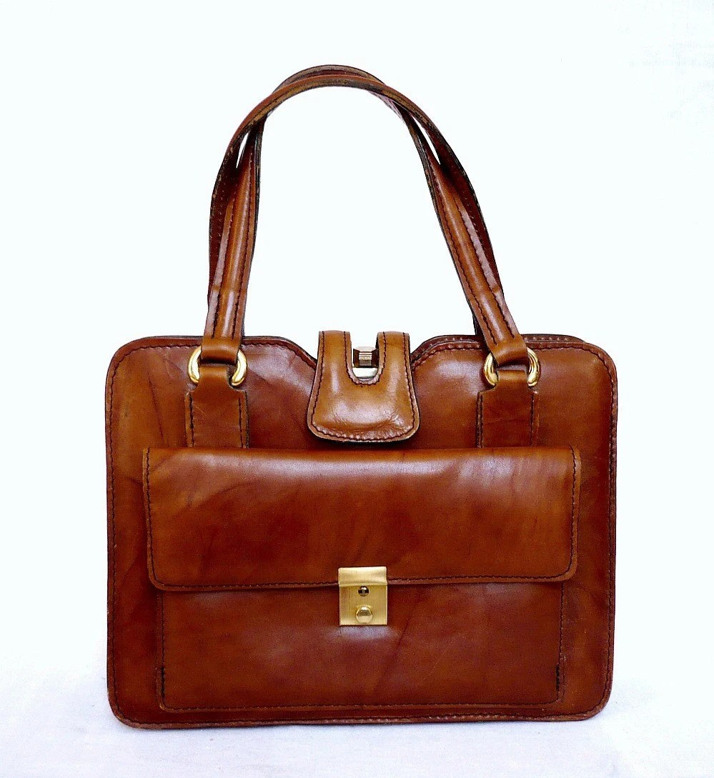 CAROLE FrenchVintage Brown Leather Handbag