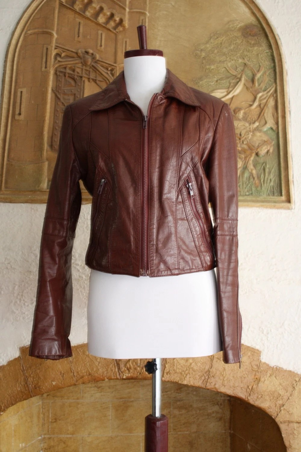 Cognac Bomber Leather Jacket