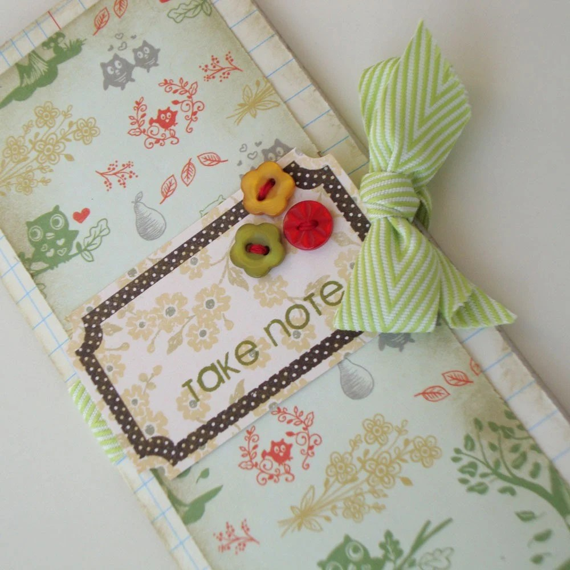 Take Note, Shabby Chic Handmade and Hand-Stamped Notepad, Stocking Stuffer