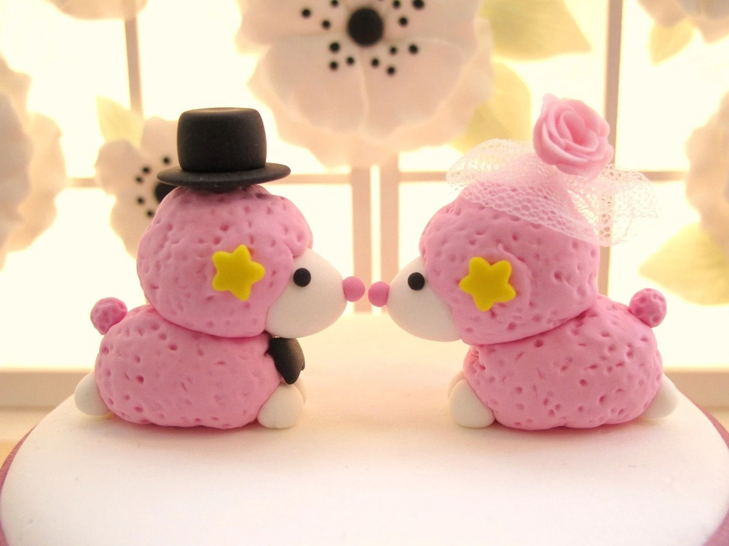 PROMOTION-------Custom Wedding Cake Topper -Handmade lovely Kiss Poodle
