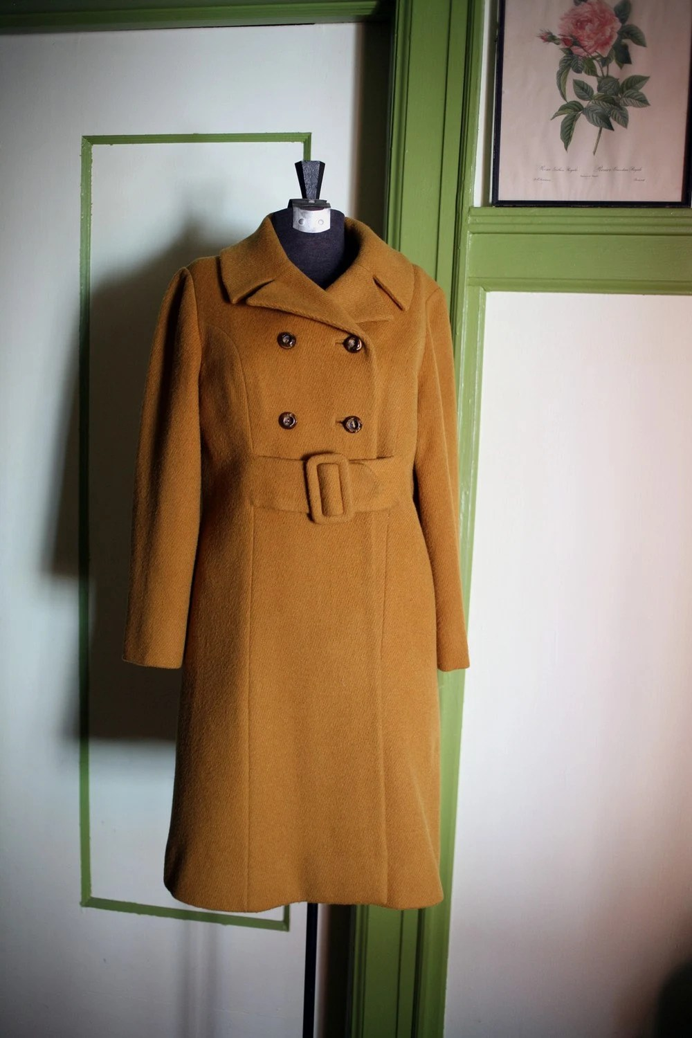 1960s Double Breasted Goldenrod Wool Coat - M