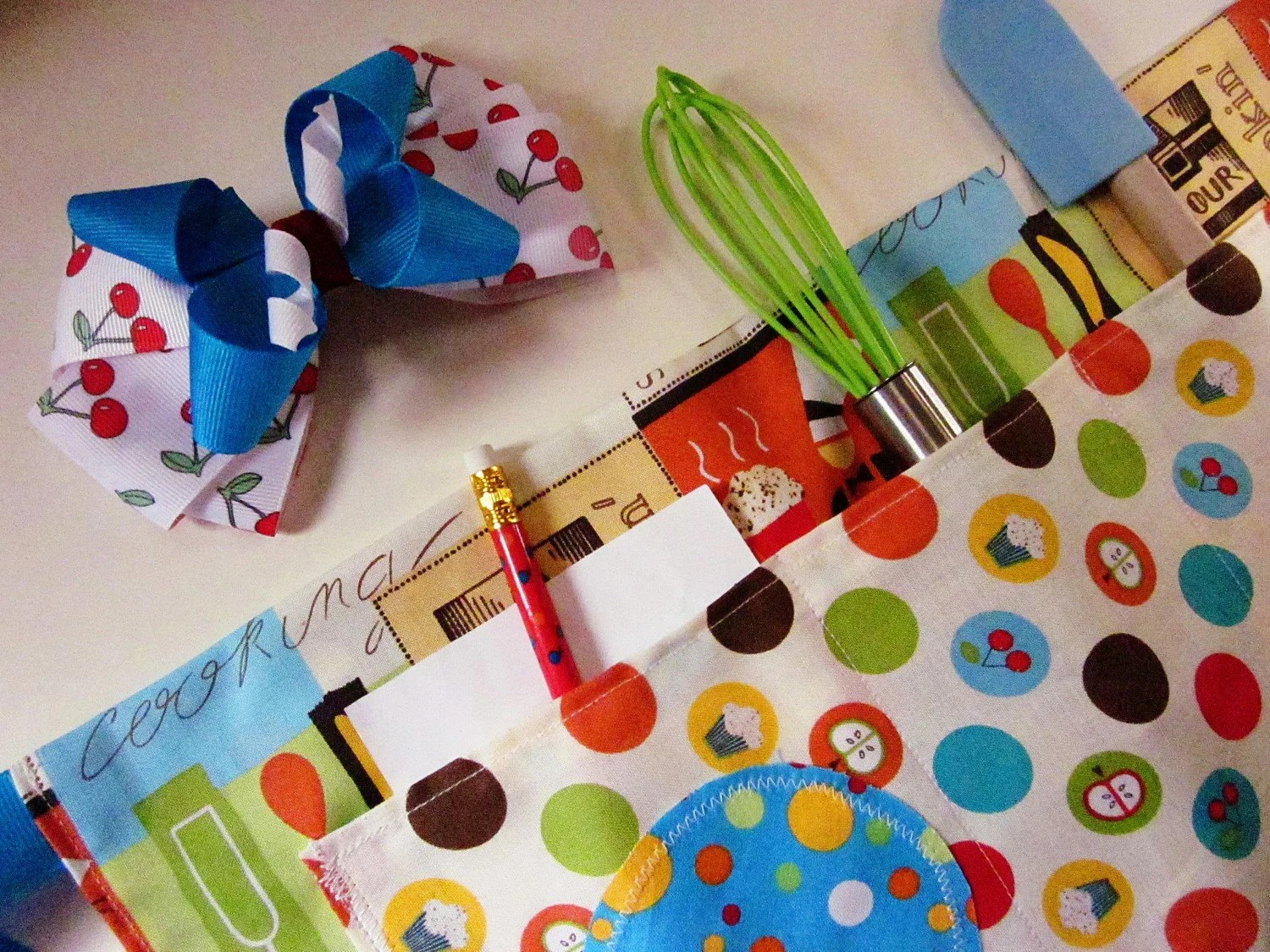 Children's Apron and Hair Bow Set