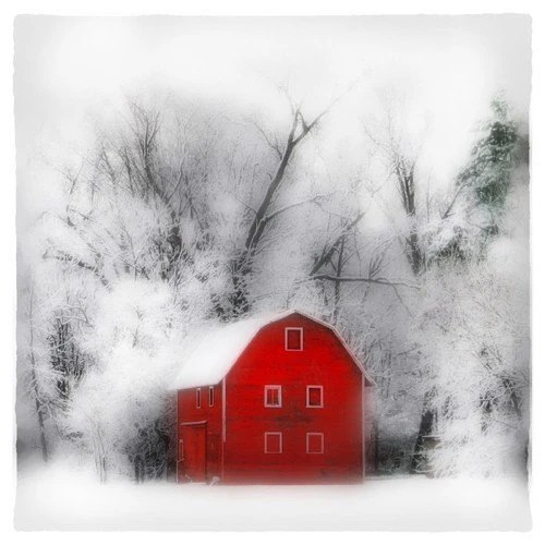 Country winter,Original Signed Fine Art altered photograph 4x4 inches
