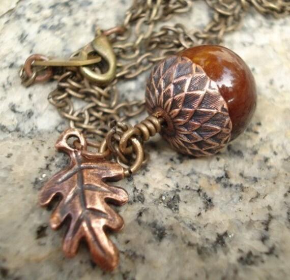 Copper Acorn Necklace