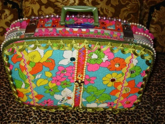 recycled vintage DAY AT THE BEACH  suitcase by C. Reinke vintage TERRY CLOTH and trims