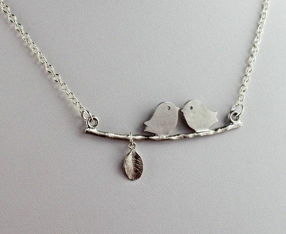 Cheerful Lovebirds Necklace in Rhodium